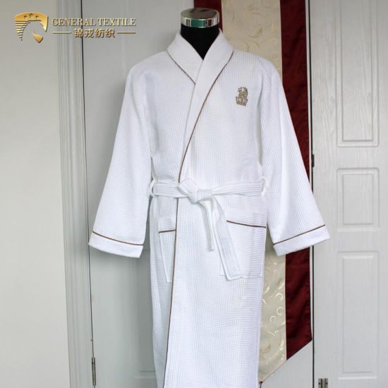 Jr056 China Supplier Double Layer Women and Men Hotel Cotton Waffle Bathrobe