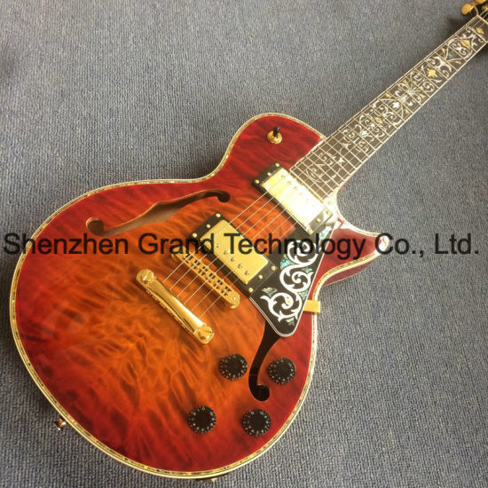 Custom F Holes Lp Style Electric Guitar with Gold Hardware in Red Burst Color pictures & photos