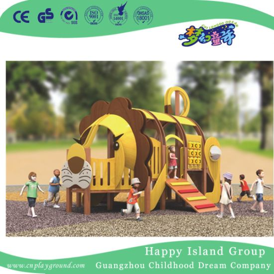 Outdoor Lion Shape Wooden Animal Playground Equipment (1907701)