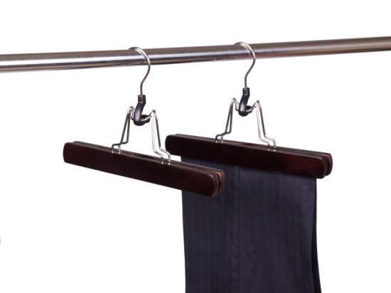 Wholesale Walnut Non-Slip Durable Wooden Pants Hanger Bottoms Hanger