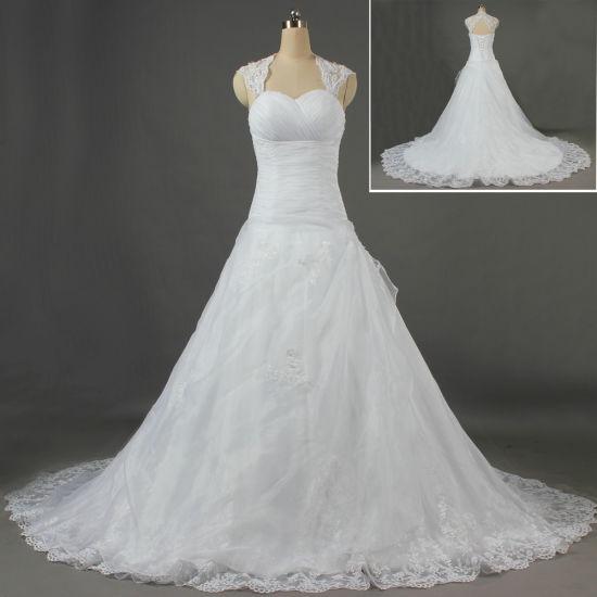 Wholesale Wedding Dresses.Wholesale Lace Edge Cap Sleeve Bridal Gown Keyhole Back Wedding Dresses W108