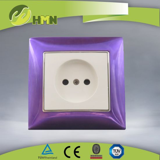 Ce/TUV/BV Certified European Standard Metal Zinc 1Gang purple Russian Socket