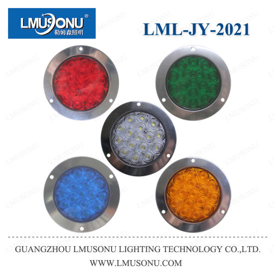 Lmusonu Jy-2021 Stainless Steel Round 12V 24V 5W Red White Yellow Green LED Tail Light Back Light Turn Light for Jeep Truck