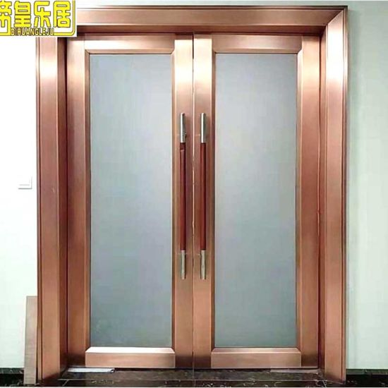 Fire Rated Door Stainless Steel Entry Door Price with Tempered Glass pictures & photos