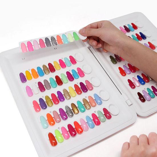 Plastic Nail Color Chart with 120PCS Fake Nail Art Tips for Salon Nails Polish Display