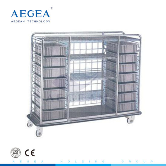 Ce ISO Luxurious Mobile Stainless Steel Delivery Cart 4 Wheel