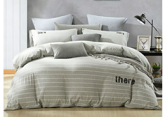 100% Cotton Yarn Dyed Stripe Jersey Knitted Duvet Cover Set pictures & photos