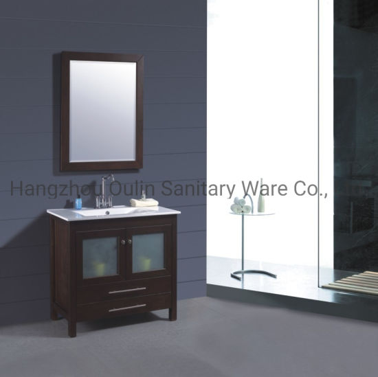 Classtic Solid Wood Bathroom Side Cabinet with Marble Vanity Top