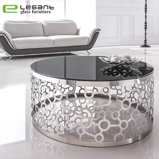 China Art Style Home Goods Stainless Steel Base Round Glass Coffee Table China Coffee Table Glass Table