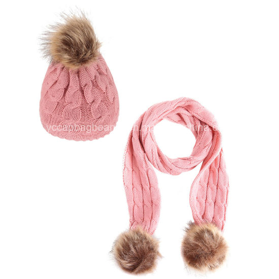 Fashion Children Fur Pompom Beanie Scarf Knit Set