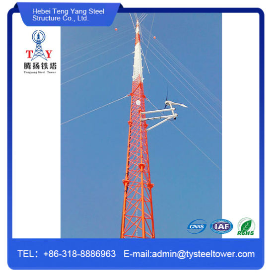 Monopole Antenna Lattice Telecommunication Guy Wire Tower