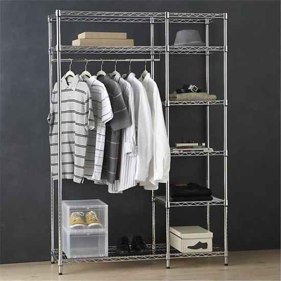 Beau Chrome Metal Bedroom Furniture Wardrobe Rack For Home