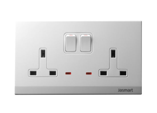 13A Twin Switched Socket Outlet with Neon