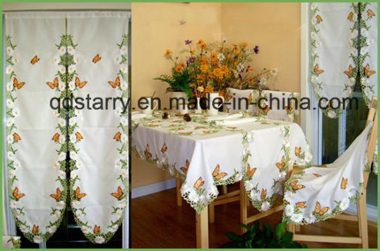 Butterfly Design Embroidery Cutwork Table Cloth St116 pictures & photos