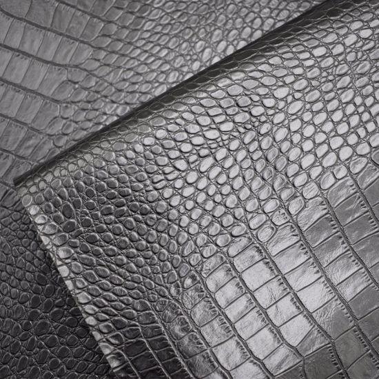 Black Color Crocodile Skin Pattern Artificial PU Shoe Leather