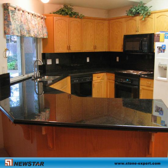 Black Galaxy Granite Kitchen Countertopvanitytops China Granite