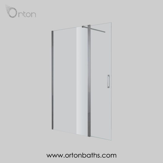 Walk In Cubicle Wet Room Shower Enclosure Glass Screen with Flipper Panel