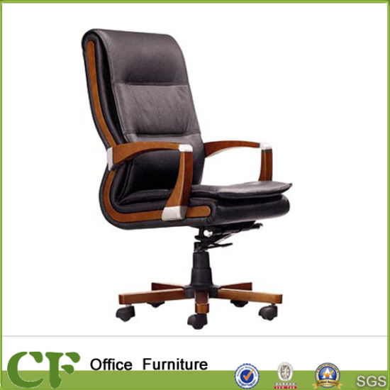 Modern Pu Leather Office Executive Chair Wooden Swivel Base