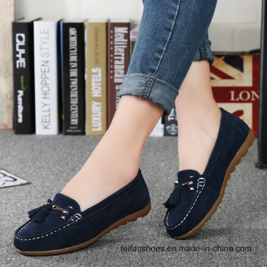 63fe8bbedff Fashion Lady Suede Loafer Leather Casual Sneaker Shoes Srx0907-1 (25)  pictures