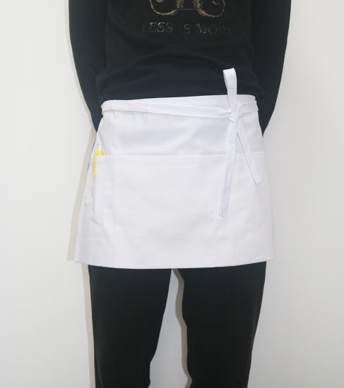 Custom Restaurant Chef Coffee White Waist Apron with Three Pockets