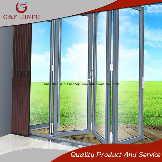 China Aluminium Profile Double Glass Folding Door Multi-Panel Doors ...