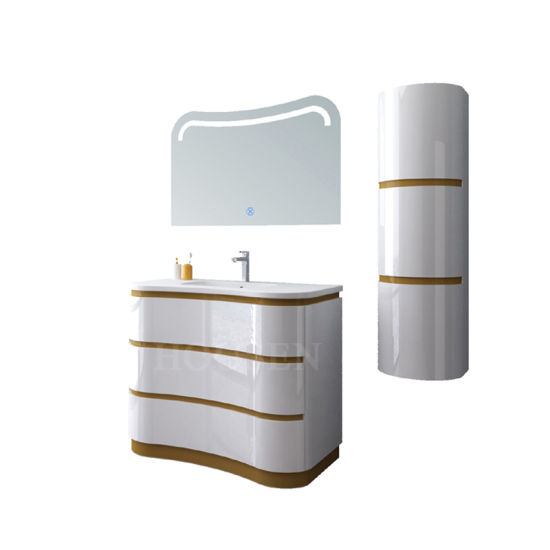 Wholesale New Design European Style Modern Solid Wood Paint Bathroom Cabinet LED Vanity Lights European Style Bathroom
