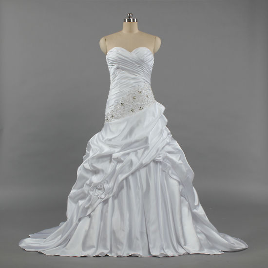 W263 2019 Strapless A Line Dropped Waist Crystal Satin Wedding Gown for Bride