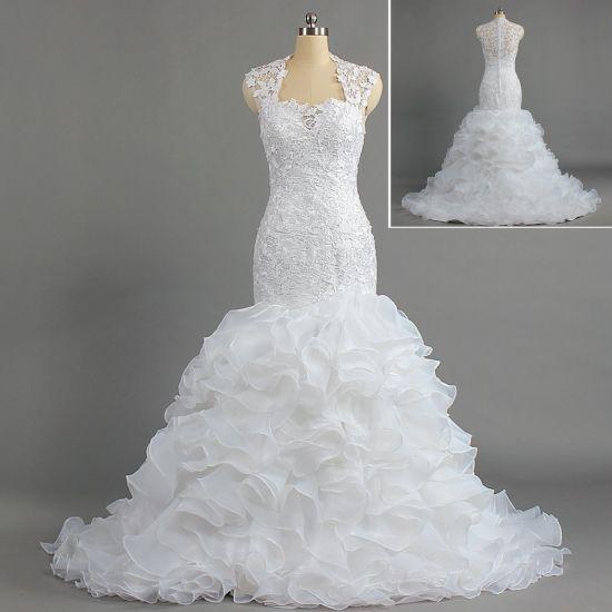 W316 Elegant Silm Sleeveless Lace Ruffle Organza Trumpet Bridal Gowns for Weddings