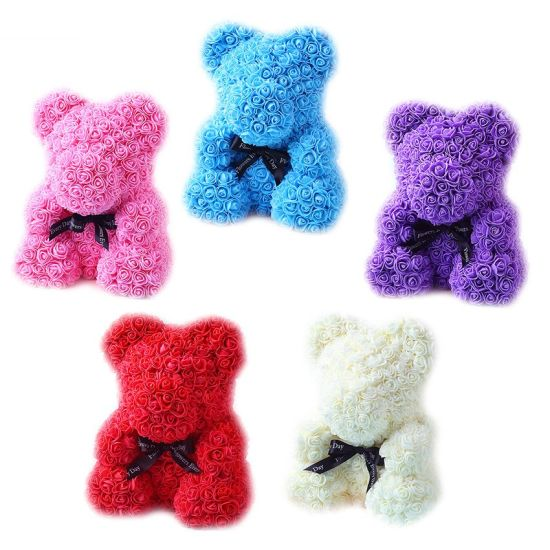 High Quality Big Rose Flower Teddy Bear Plush Stuffed Toy