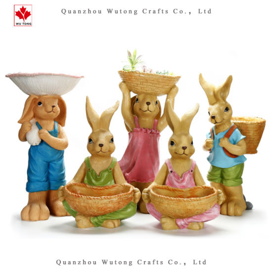 Custom Promotion Holiday Decoration Resin Easter Rabbit Figure Flower Pot
