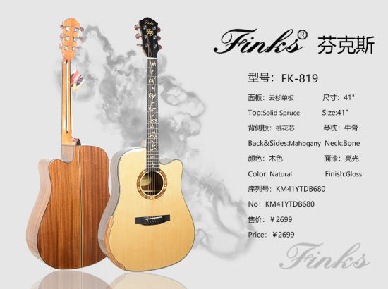 Finks 41 Inch Single Solid with Armrestfolk & Acoustic Guitar Beautiful Guitar