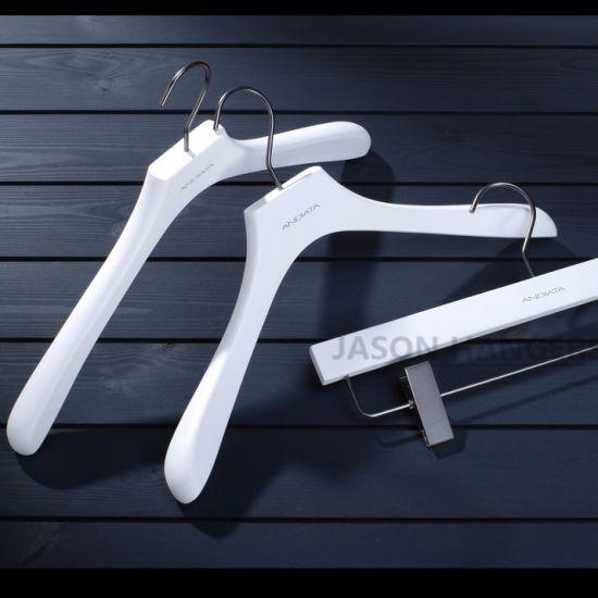 Luxury Customized Logo White Man Wooden Coat Hanger