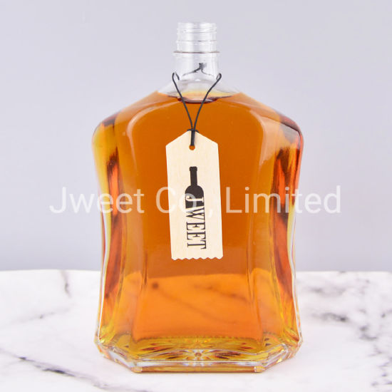 Factory Irregular Shape Luxury Brandy Glass Bottle 1L