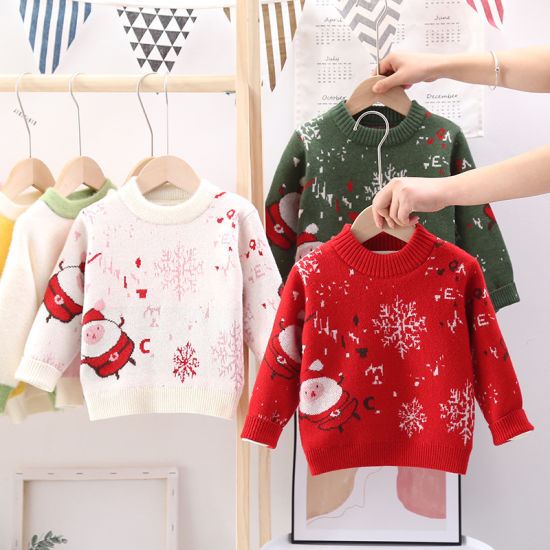 Winter Pullover Baby Clothes Thick Striped Christmas Fashion Baby Sweaters