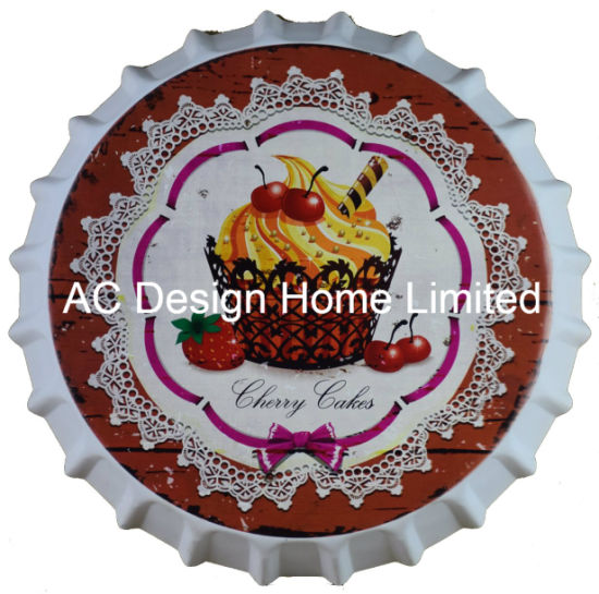 Cup Cake Design Metal Printing Beer Cap Plaque China Home