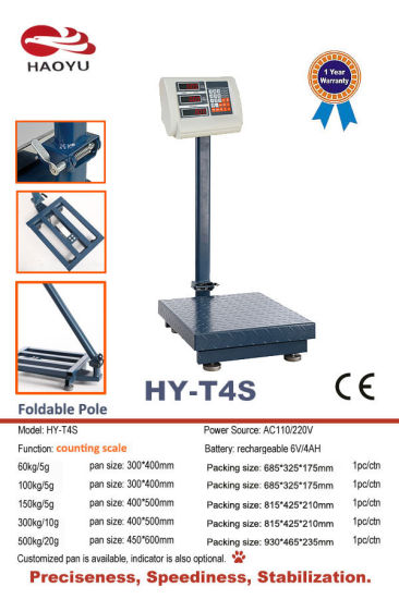 300kg Counting Platform Scale with Foldable Pole pictures & photos