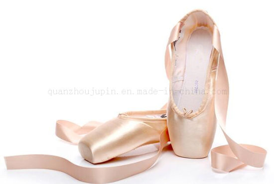 OEM Silk Hard Sole Ballet Dance Pointe Shoes with Straps