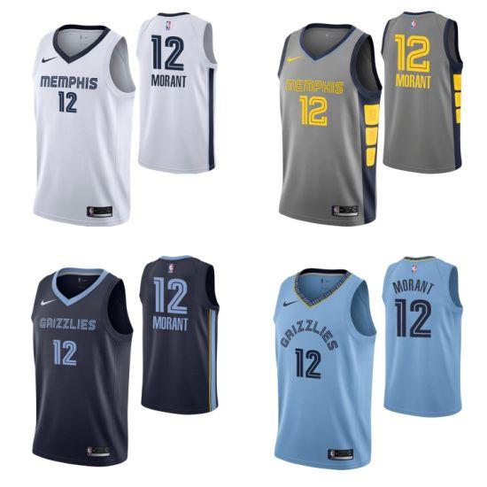2019 N-B-a Draft Memphis Grizzlies 12 Ja Morant Basketball Jerseys