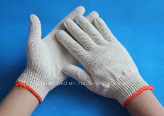 10 Gauge Bleached White Industrial Safety Labor Protective Working Cotton Gloves pictures & photos