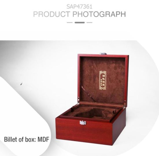 Custom Retro Leisure MDF Red Matte Lacquer Wine Gift Case pictures & photos