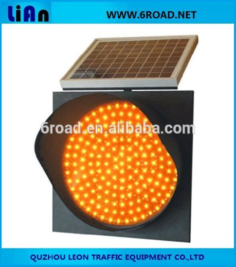 Solar Panel Polisilicon Yellow Traffic Light 95PCS LED Solar Warning Light Flashing Traffic Signal pictures & photos