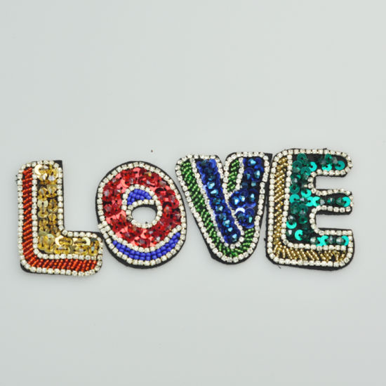 Love Beaded Patch Decoration for Jacket