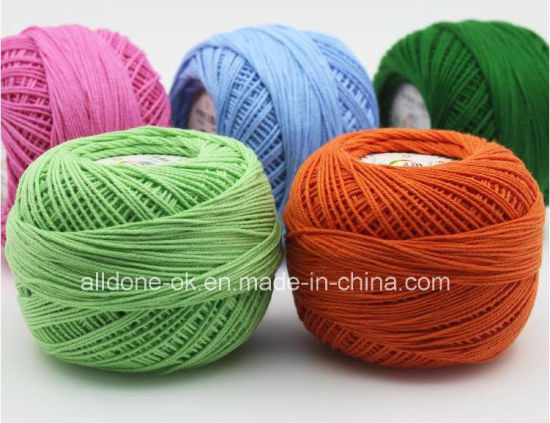 High Quality Worsted Dyed Fabric Crochet Knitting Lace Organic Cotton Yarn pictures & photos
