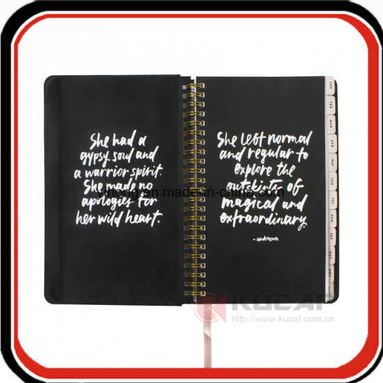 Custom Hindden Spiral Marble Hardcover Notebook Weekly Agenda Book pictures & photos
