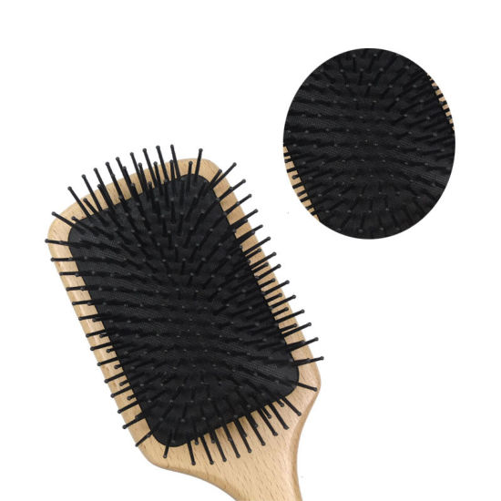 100% Beach Wooden Bamboo Hair Brush, Large Square Brushes for Scalp Massage and Detangling Hair, Natural Wooden Massage Hair Paddle Brush