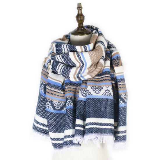 Winter Style Thickened Double-Sided Geometric Acrylic Wool Scarf