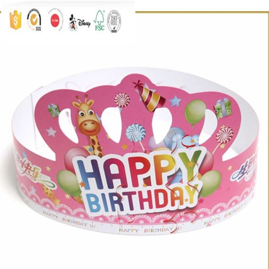 Custom Promotional Customized Printing Kids Crown Paper Birthday Party Hat Pictures Photos
