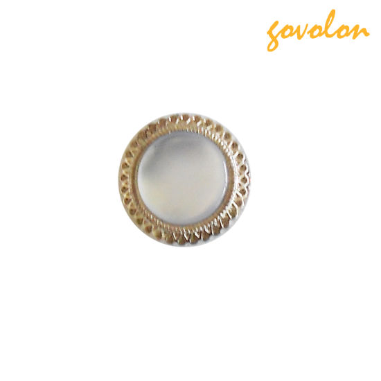 Round Pearl Button with Metal Edge