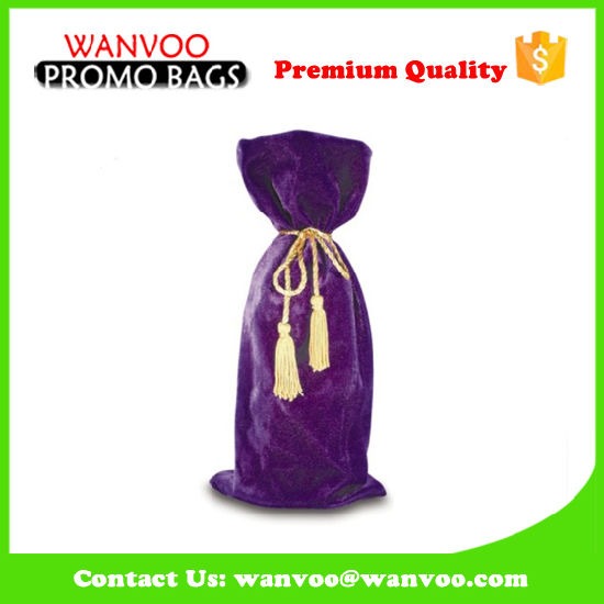 Promotional Drawstring Pouch Velvet Wine Bottle Gift Bag pictures & photos