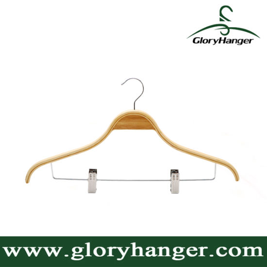 Fsc Hanger Facory Wholesale Laminated Wood/Bamboo Clothes Hanger with Metal Pant Clips for Man Shirt Display pictures & photos